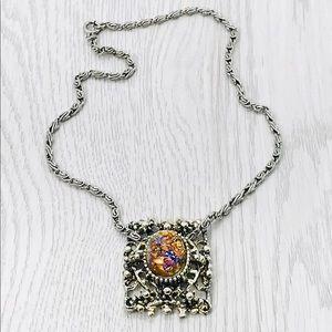 Vintage Designer Selini Selro Fire Opal Necklace